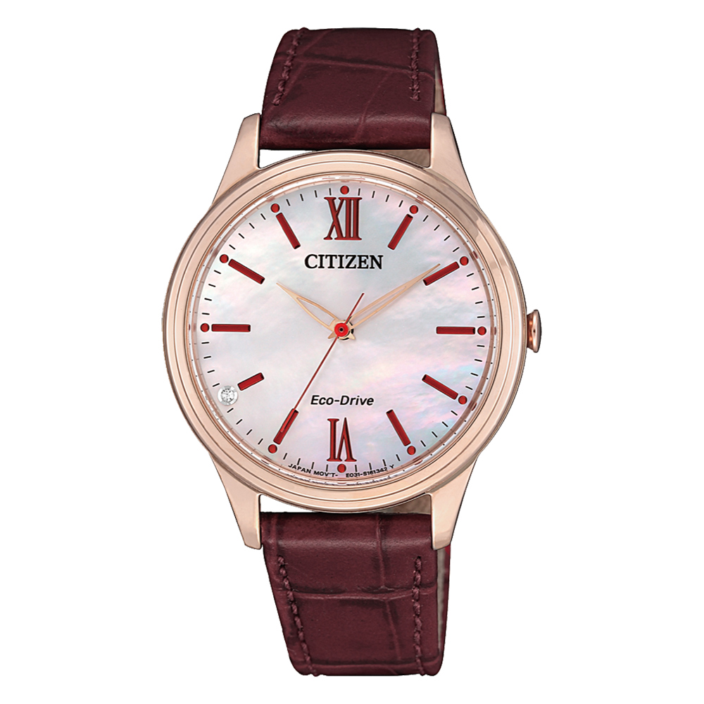 CITIZEN 光動能晶彩貝殼面皮革腕錶-紅(EM0413-17D)/33mm