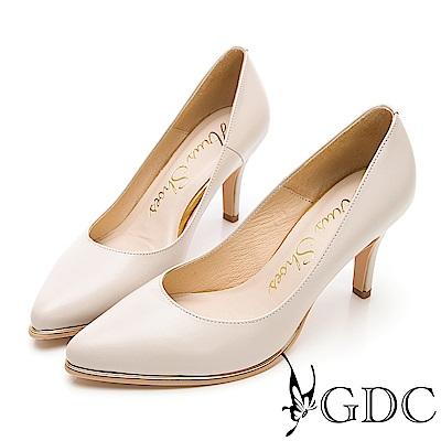 GDC-氣勢女強人尖頭性感真皮上班金邊高跟鞋-米色