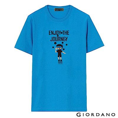 GIORDANO 男裝假期休閒印花T恤-60 鮮藍