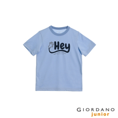 GIORDANO 童裝Greeting印花條紋T恤 - 02 冰藍