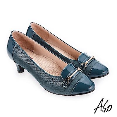 A.S.O 美型對策 典雅飾釦高跟鞋 正綠