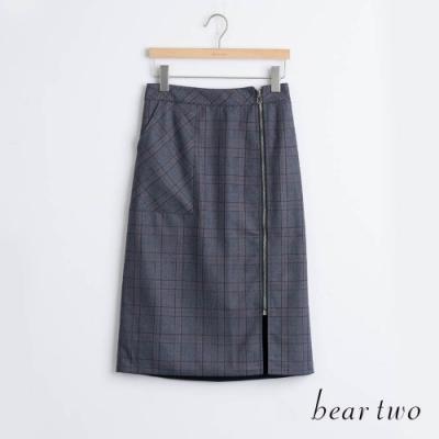 bear two- 格紋側拉鍊A字裙 - 黑