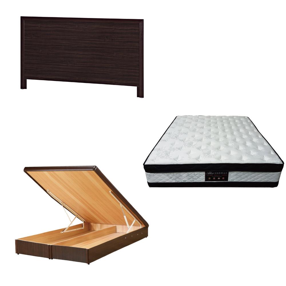 綠活居 梅可5尺雙人床台三式組合(床頭片+後掀床底+正四線涼感獨立筒床墊)五色可選