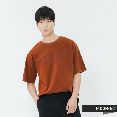 H:CONNECT 韓國品牌 男裝-交錯拼接感上衣-棕