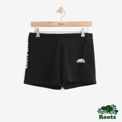 女裝Roots- LOGO飾邊毛圈布短褲-黑