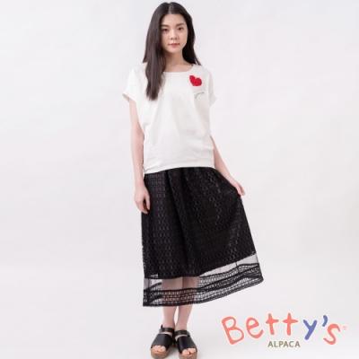 betty's貝蒂思 彈性腰圍蕾絲蔞空中長裙(黑色)