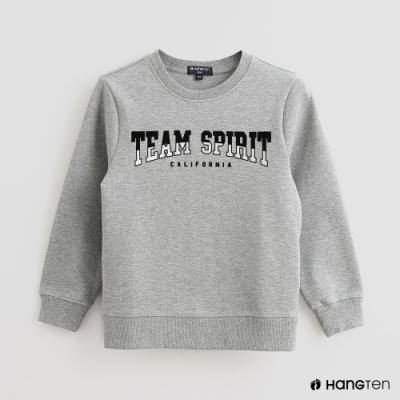 Hang Ten -童裝 - 簡約純色字母印花圓領長袖上衣 - 灰