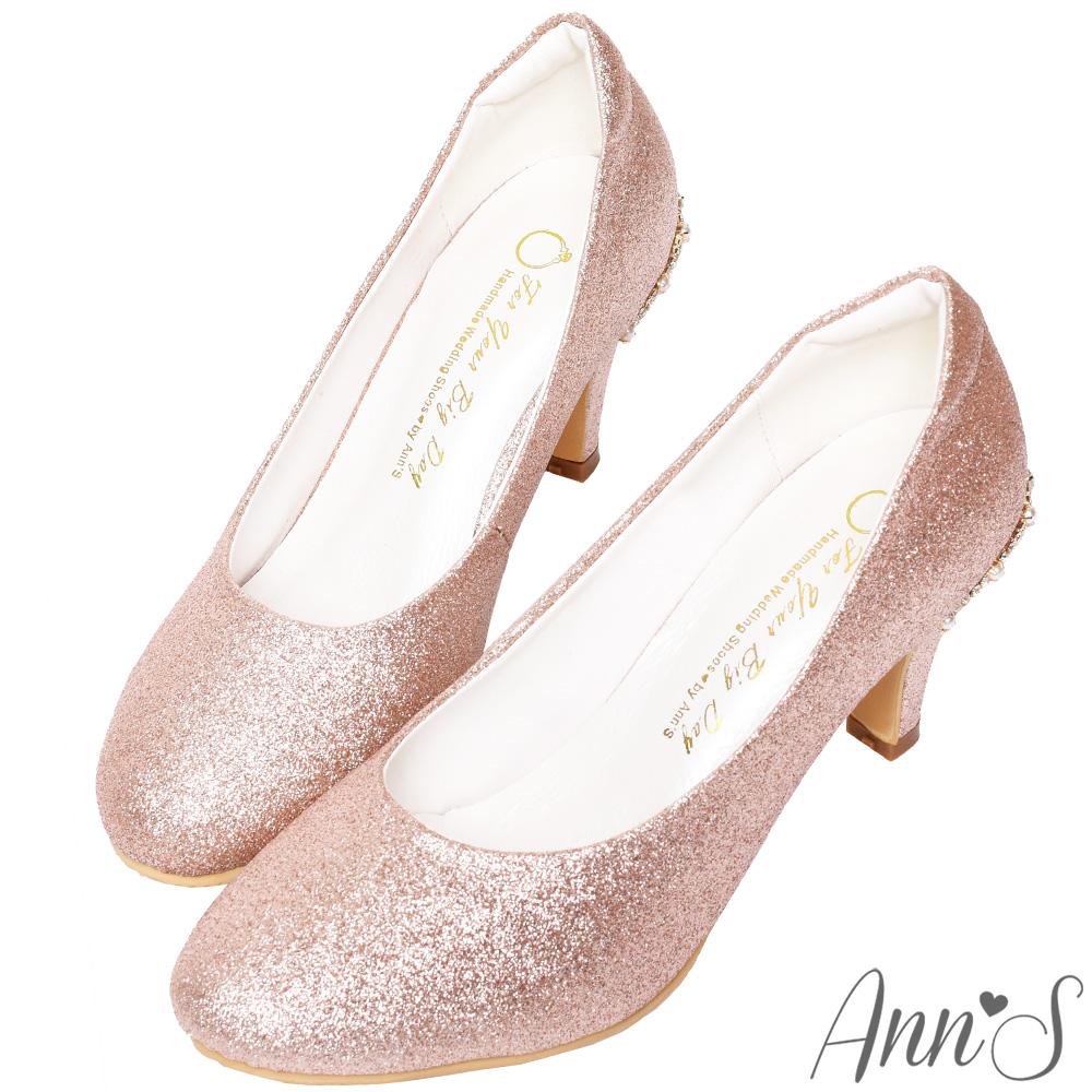 Ann'S不想當伴娘-後跟水鑽皇冠圓頭低跟婚鞋-玫瑰金