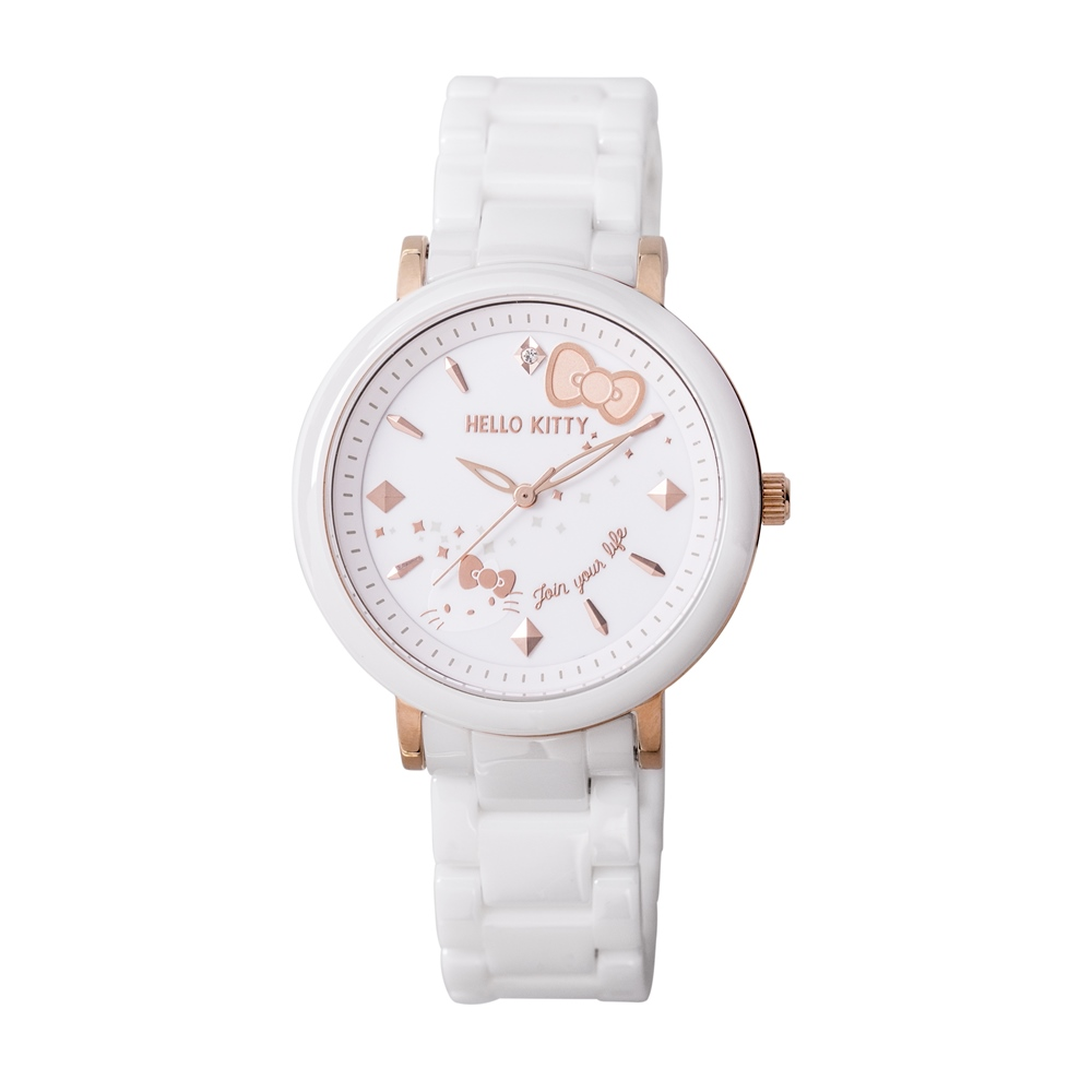 HELLO KITTY 凱蒂貓 45週年紀念陶瓷手錶-白x玫瑰金/35mm