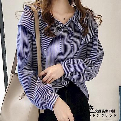 娃娃領條紋襯衫-共2色-M-2XL可選-初色