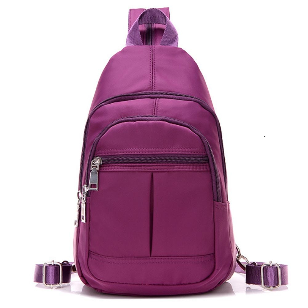 I.Dear-男女休閒可水洗尼龍拉鍊3way胸背包雙肩後背包(BG74紫色)