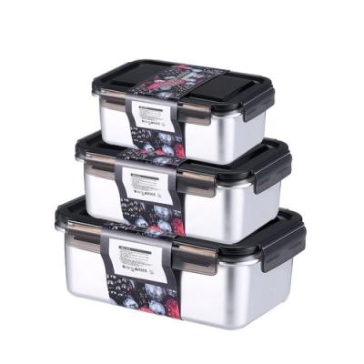 PUSH!餐具用品316不銹鋼保鮮盒抗菌冷凍密封冰箱收納盒長方形三件套D226