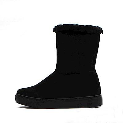 【AIRKOREA韓國空運】正韓內刷毛休閒懶人運動中筒靴-黑