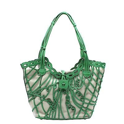 Omdi 甜美真皮手提包-綠色