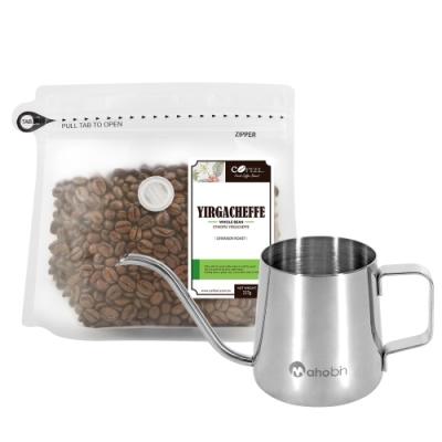 CoFeel 凱飛鮮烘豆衣索比亞耶加雪夫淺烘焙咖啡豆半磅+魔法瓶咖啡手沖細嘴壺