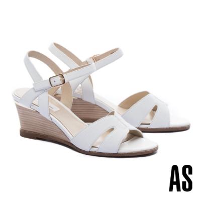 涼鞋 AS 簡約氣質異材質繫帶楔型高跟涼鞋-白