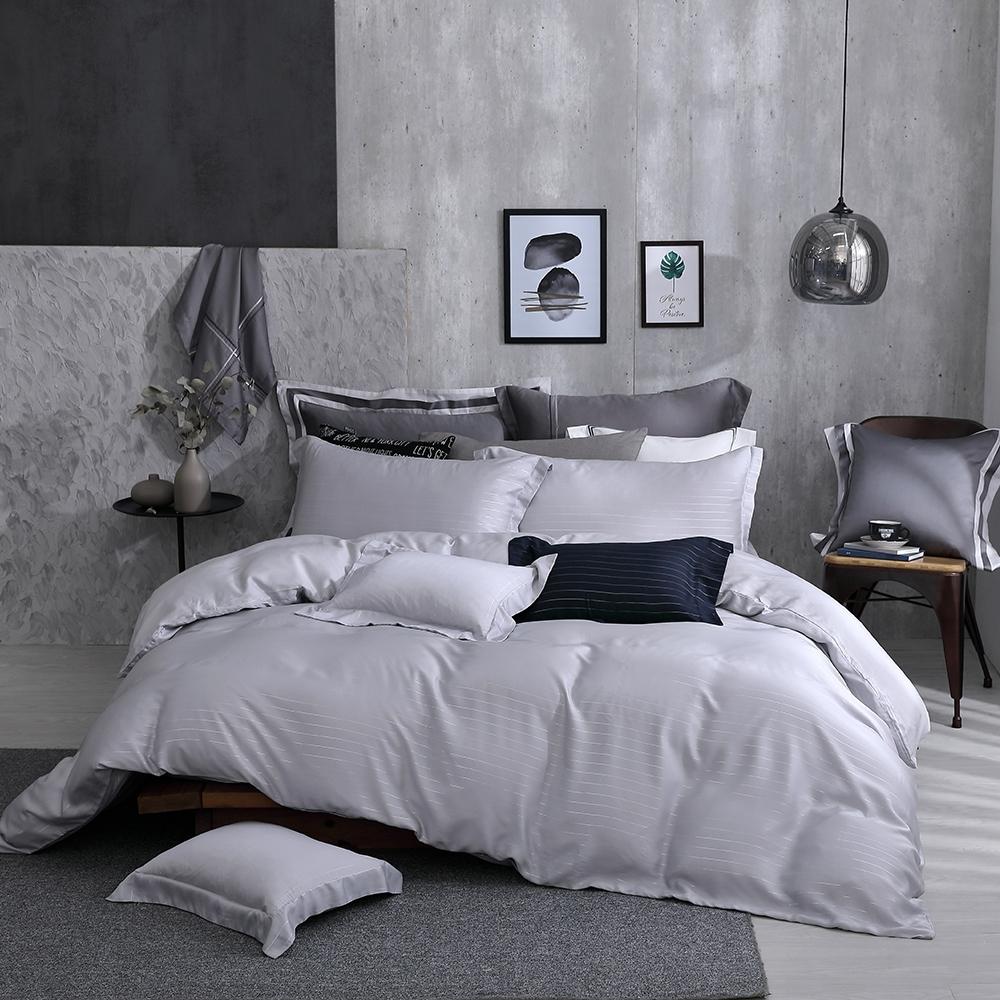 OLIVIA  Mars 銀灰 加大雙人床包被套四件組 300織銀纖維天絲萊賽爾 台灣製