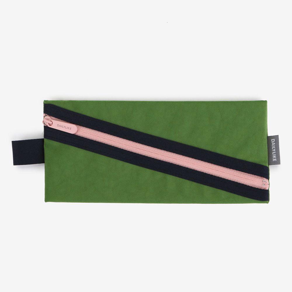 Dailylike 撞色拉鏈收納筆袋(寬版)-02草地綠