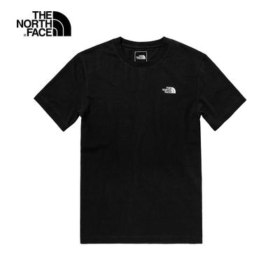 The North Face北面男款黑色背部品牌印花圓領短袖T恤|7QPGJK3