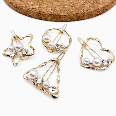 Hera 赫拉 幾何款水鑽珍珠高質感金屬髮夾-4款