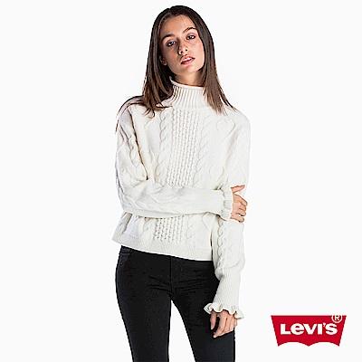 Levis 女款 毛衣 愛心針織 荷葉邊袖口 白色