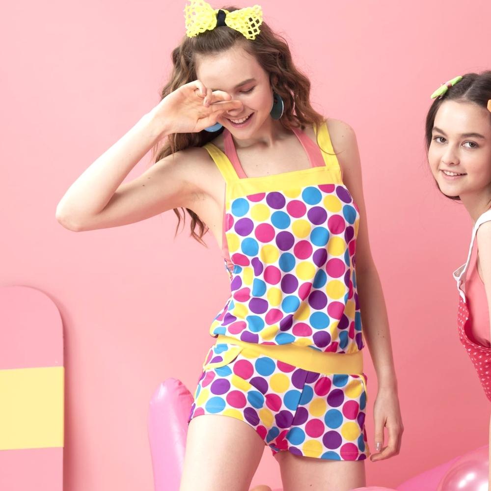 沙兒斯 泳裝 黃粉多彩圓圓圈圈連身式外罩衣