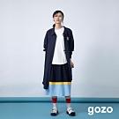 gozo 符號別針幾何拼接壓褶上衣(白色)