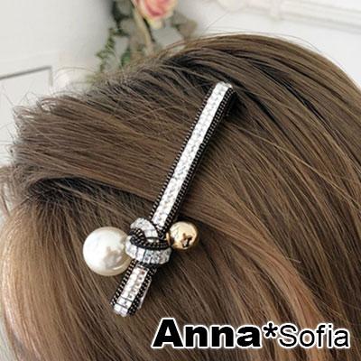 【3件480】AnnaSofia 方晶排列綁結垂珠 純手工長型髮夾