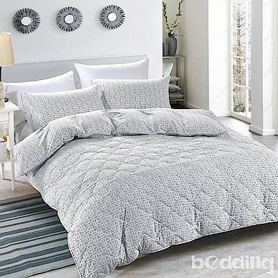 BEDDING-舒適系列海島棉6尺加大雙人薄式床包三件組-爵士風情-灰