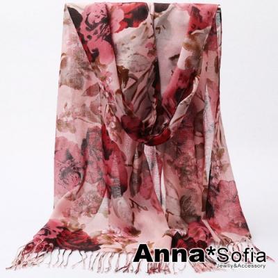 【2件450】AnnaSofia 瑰麗花彩 窄版流蘇款巴黎紗披肩圍巾(嫣紅粉系)