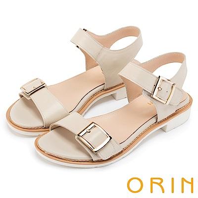ORIN 簡約時尚潮流 雙帶牛皮方扣低跟涼鞋-白色