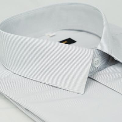 金‧安德森 白底黑細紋吸排窄版短袖襯衫fast