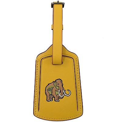 COACH 烙印LOGO牛皮長毛象烙印圖案行李吊牌(黃)