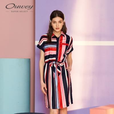 OUWEY歐薇 海洋風條紋綁帶連袖洋裝(藍)