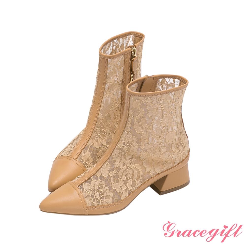 Grace gift X Rui-聯名雕花蕾絲低跟短靴 卡其