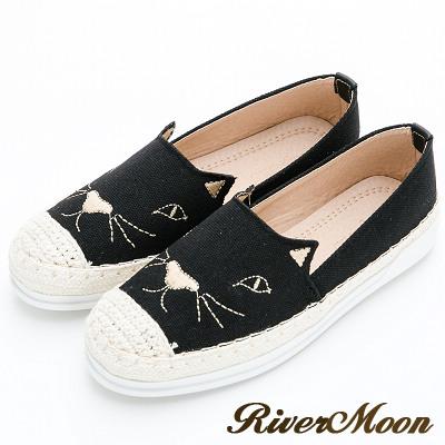 River&Moon懶人鞋-繡線貓咪麻編豆豆休閒鞋-黑系