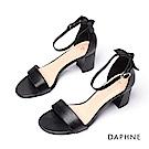 達芙妮DAPHNE 涼鞋-簡約一字帶粗跟涼鞋-黑