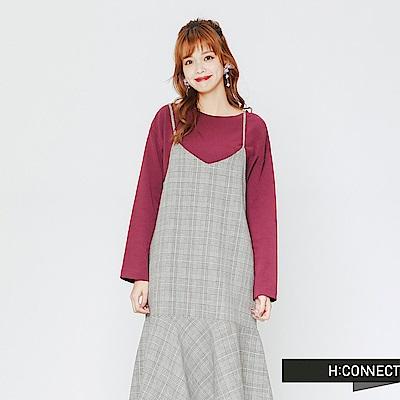 H:CONNECT 韓國品牌 女裝-格紋細肩魚尾洋裝-黑