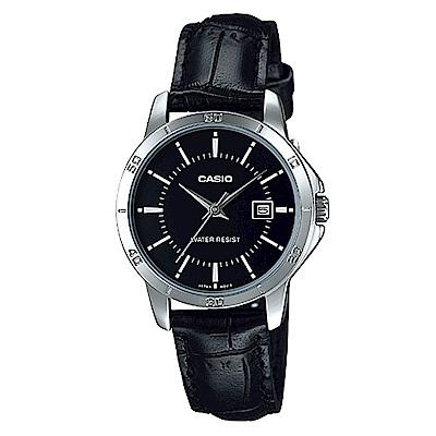 CASIO 都會白領羅馬指針日曆皮帶錶(LTP-V004L-1A)-黑面/30.2mm