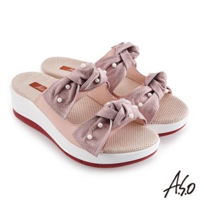 A.S.O 時尚流行 輕穩健康鞋金蔥布料條帶拖鞋-粉紅