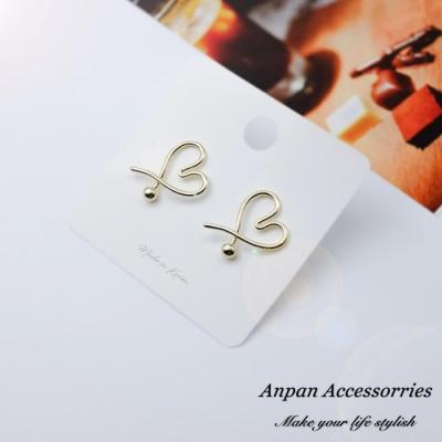 【Anpan 愛扮】韓東大門設計師款簡約愛心滿滿925銀針耳釘式耳環