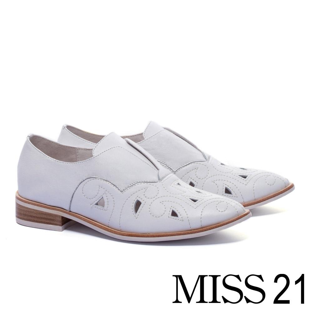 跟鞋 MISS 21 紳士品味雕花電繡設計全真皮牛津低跟鞋-白 @ Y!購物