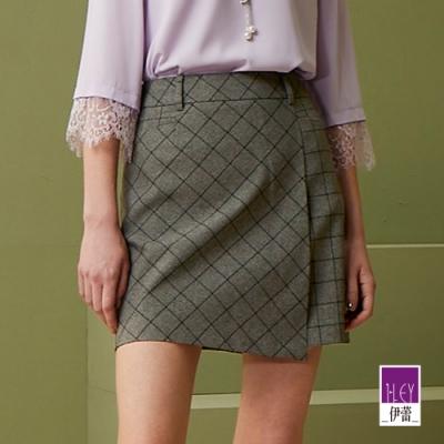 ILEY伊蕾 簡約率性不對稱格紋褲裙(黑/鐵灰)