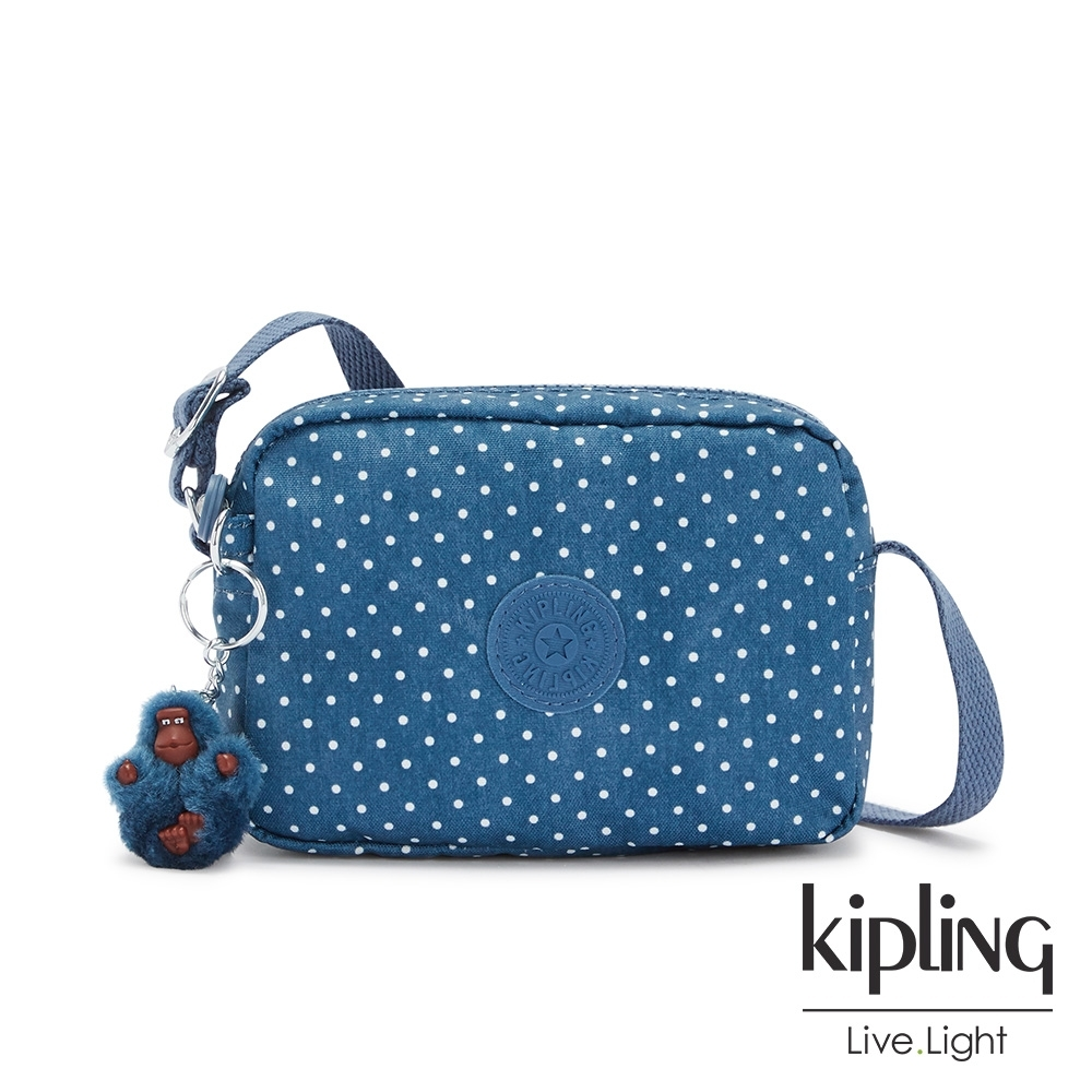 Kipling 復刻單寧水玉藍簡約造型拉鍊方包-BETHANY