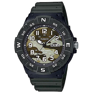 CASIO 潮流迷彩風潛水設計運動指針錶(MRW-220HCM-3B)墨綠/47.9mm