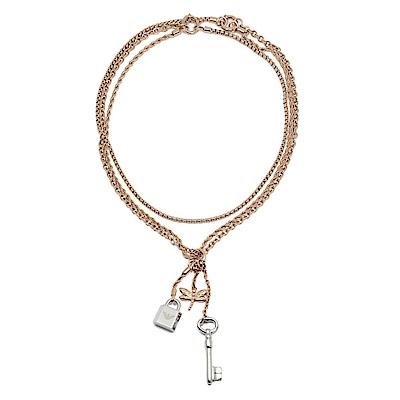 Emporio Armani亞曼尼 蜻蜓鎖頭鑰匙造型多層次項鍊 玫瑰金