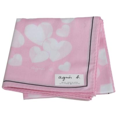 agnes b 繽紛愛心品牌字母LOGO帕領巾(桃紅/白系)
