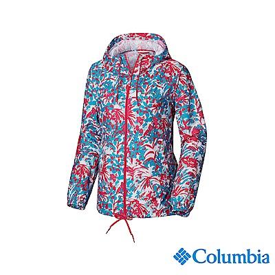 Columbia 哥倫比亞 女款-防潑水風衣-桃紅印花 UKR30130FR
