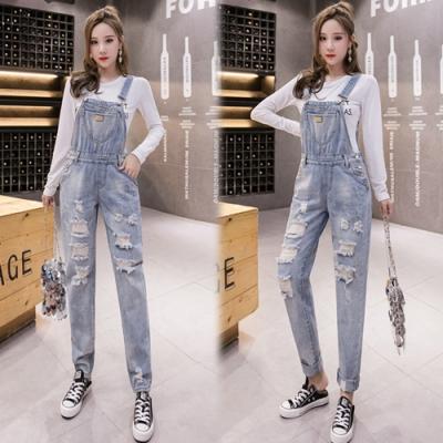 【韓國K.W.】(預購)獨具品味時尚連身牛仔吊帶褲-1色