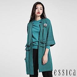 JESSICA - 氣質流蘇造型針織開襟衫(綠)